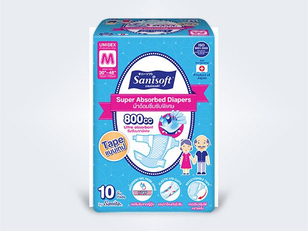 sanisoft แซนนิซอฟท์ ผ้าอ้อมผู้ใหญ่ แบบเทป Sanisoft Super Absorbed Diapers Tape M 10ps