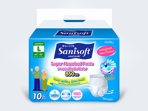 sanisoft แซนนิซอฟท์ ผ้าอ้อมผู้ใหญ่ แบบกางเกง Sanisoft Adult Pants L 10ps
