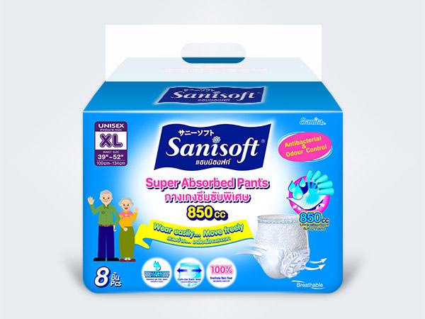 sanisoft แซนนิซอฟท์ ผ้าอ้อมผู้ใหญ่ แบบกางเกง Sanisoft Adult Pants XL 8ps