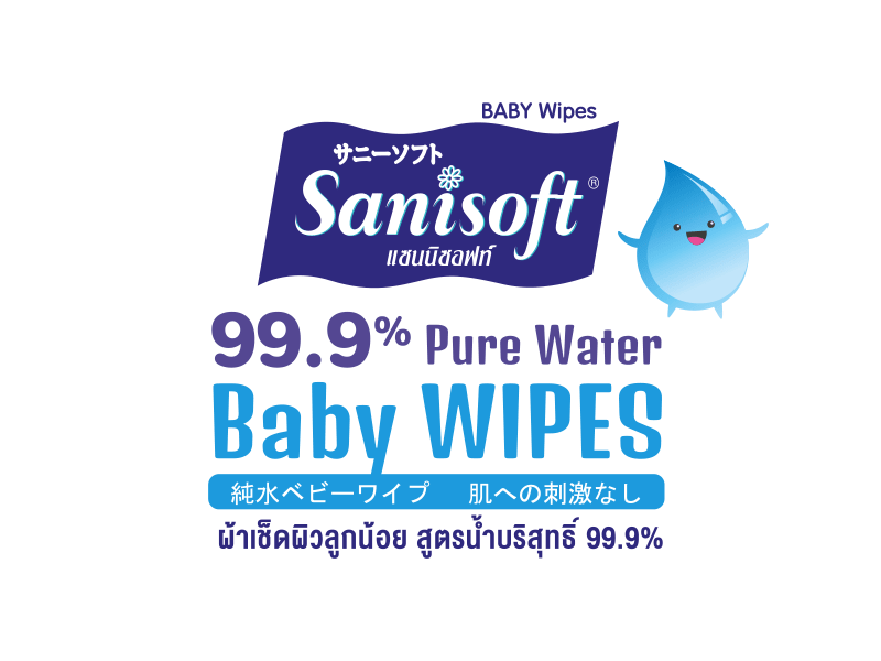sanisoft แซนนิซอฟท์ ผ้าเปียก wipes Baby Wipes 99.9% Pure Water 20 - 80ps
