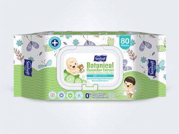 sanisoft แซนนิซอฟท์ ผ้าเปียก wipes Baby Wipes Cucumber 80ps