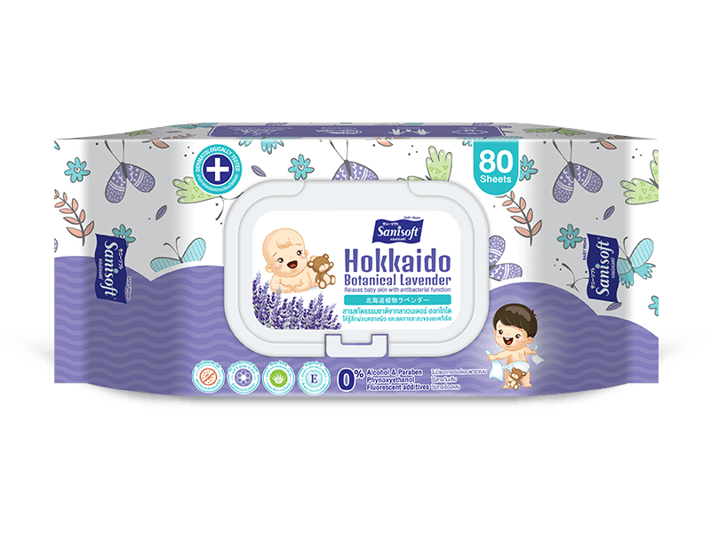 sanisoft แซนนิซอฟท์ ผ้าเปียก wipes Baby Wipes Lavender 80ps