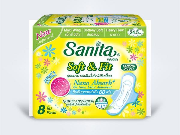 sanita แซนนิต้า sanitary pads ผ้าอนามัย day Soft&Fit Maxi Wing 24.5cm 8ps