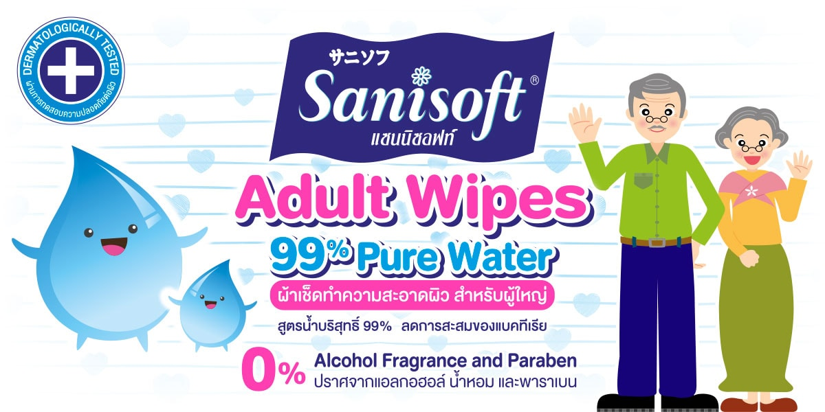 Sanisoft Adult Wipes 99% Pure Water