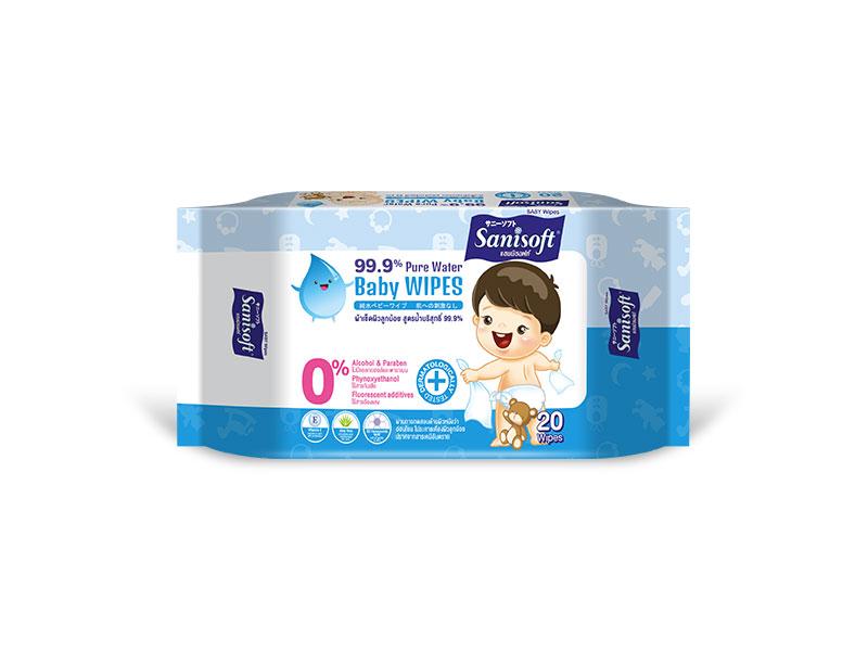 Sanisoft Baby Wipes 99.9% Pure Water - ขนาดบรรจุ 20 แผ่น