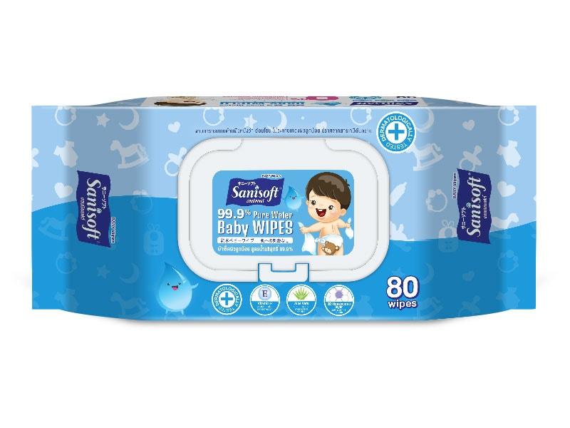 Sanisoft Baby Wipes 99.9% Pure Water - ขนาดบรรจุ 80 แผ่น