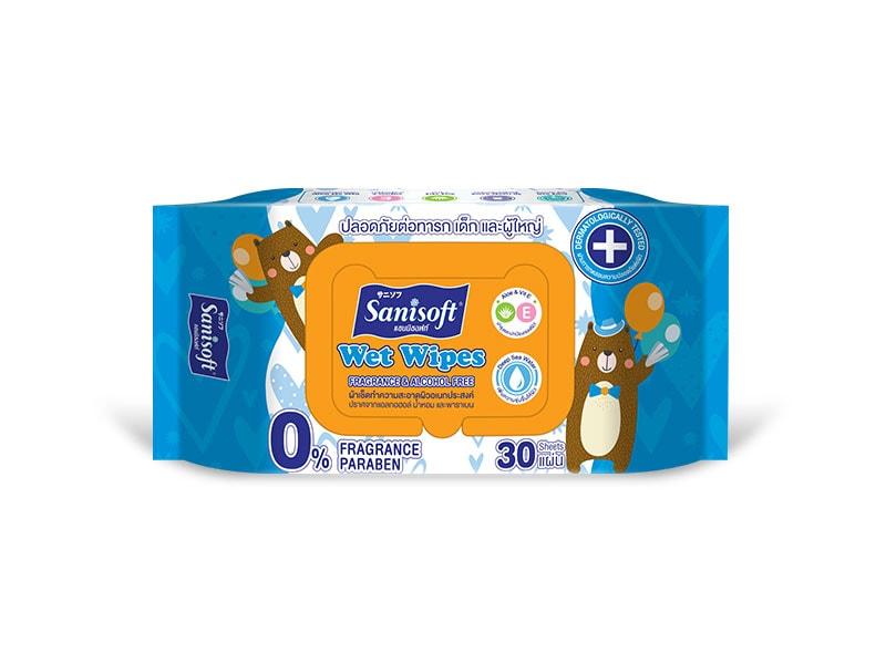 Sanisoft Wet Wipes Fragrance & Alcohol Free - ขนาดบรรจุ 30 แผ่น